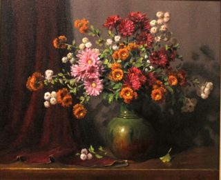 An Oil painting by Gregory R. Smith in the Realist Impressionist style  depicting Flowers Interior and Pots and titled Autumnal Chrysanthemums