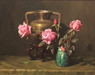 An Oil painting by Gregory R. Smith in the Realist Impressionist style  depicting Flowers Clay Pots and Pots and titled Pink on Brass and Rosebud Vase