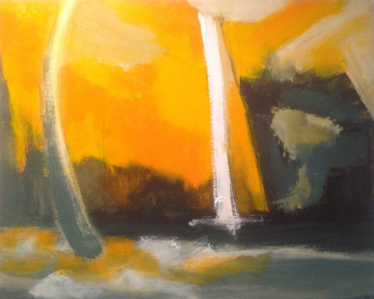 Painting by Robert Enemark titled Waterhole at Uluru