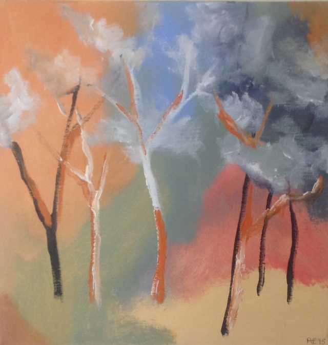 Painting by Robert Enemark titled Trees with colourful background