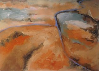 An Acrylic painting by Robert Enemark in the Abstract Expressionist style  depicting Landscape Bush Outback and Sunrise with main colour being Blue Cream and Gold and titled Aerial Landscape  @ Uluru-1