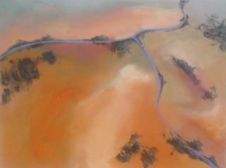 An Acrylic painting by Robert Enemark in the Abstract Impressionist style  depicting Landscape Bush and Outback with main colour being Cream Gold and Grey and titled Aerial Landscape 2 @ Uluru