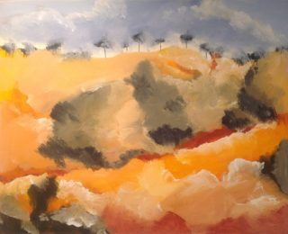 An Acrylic painting by Robert Enemark in the Semi-Abstract style  depicting Landscape Bush Outback and Rural with main colour being Blue Cream and Gold and titled Queenstown Landscape