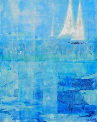 An Acrylic painting by Jeanette Adams in the Contemporary style  depicting Boats Beach and Interior with main colour being Blue Green and White and titled Sails Out Of The Blue