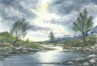 A Watercolour artwork by Steven Scott depicting  Trees and Water with main colour being Blue and titled In a Place Where Time Forgot