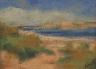 A Pastel painting by Margaret Morgan-Watkins in the Semi-Abstract Impressionist style  depicting Beach Bridge and Sea with main colour being Blue Cream and Green and titled At the Beach, Victor Harbour SA