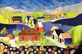 A Watercolour artwork by Glenys Gaston in the Contemporary Realist style  depicting Landscape Buildings Flowers and Hills with main colour being Blue Green and Red and titled Village Flora