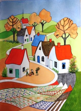 A Watercolour painting by Glenys Gaston in the Contemporary Realist style  depicting Rural Buildings Garden and Hills with main colour being Green Orange and Red and titled Village Market People