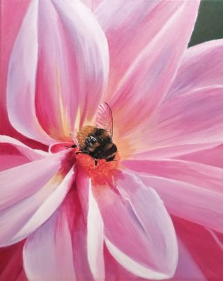 An Acrylic painting by Anne Gardner in the Realist Impressionist style  depicting Flowers with main colour being Pink and titled Bee - utiful