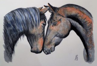 A Watercolour painting by Anne Gardner in the Realist Impressionist style  depicting Animals and Horses with main colour being Black and Brown and titled Horse lovers