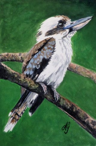 A Watercolour painting by Anne Gardner in the Realist Impressionist style  depicting Animals Birds and Bush with main colour being Brown Cream and Green and titled Old Man Kookaburra