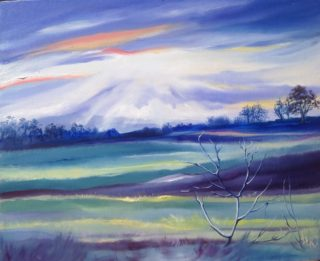 An Oil painting by Lesley Rosochodski in the Realist Impressionist style  depicting Landscape Bush Farmland and Rural with main colour being Blue Green and Pink and titled Sunset Over the Paddocks