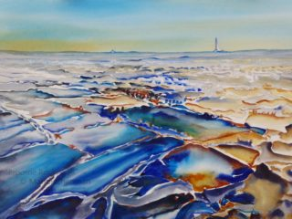 A Watercolour artwork by Marion Chapman in the Semi-Abstract style  depicting Beach with main colour being Blue and Yellow and titled Broome Rockpools