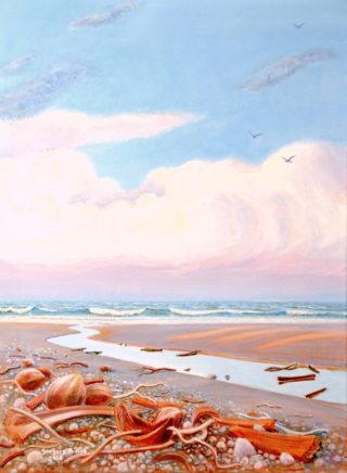 An Acrylic painting by Gregory Pastoll in the Realist style  depicting Beach Sunset and Tropical with main colour being Blue Brown and Pink and titled Four-Mile Beach, Port Douglas