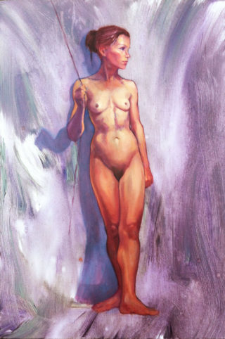 An Oil painting by Roz McQuillan in the Realist Impressionist style  depicting Nude Girl and Woman with main colour being Purple and titled Annie Standing
