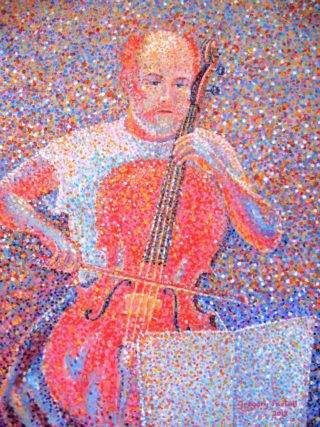 An Acrylic painting by Gregory Pastoll in the Pointillism style  depicting Man and Music with main colour being Blue Purple and Red and titled 'Cellist Rehearsing