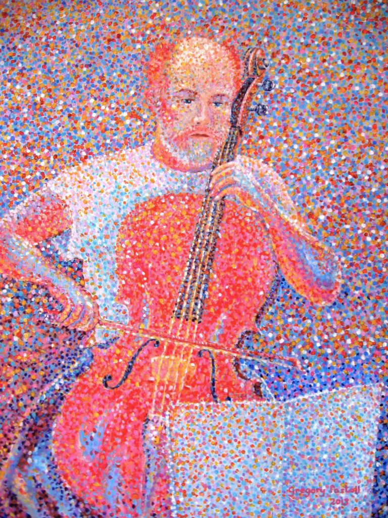 Acrylic Painting by Gregory Pastoll titled 'Cellist Rehearsing