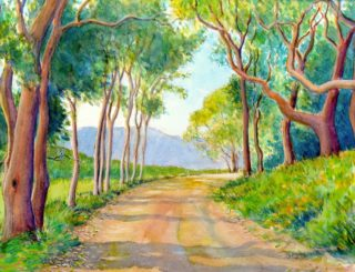 A Watercolour painting by Gregory Pastoll in the Impressionist style  depicting Trees with main colour being Brown Green and Yellow and titled Country Lane Near Albany, WA