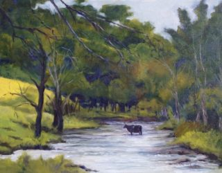 An Oil painting by Brian Rayment in the Realist Impressionist style  depicting Landscape Animals Creek and River with main colour being Gold and Green and titled Cow in Creek