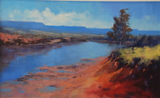 An Oil painting by Heinz Fickler in the Realist Impressionist style  depicting River with main colour being Blue Gold and Green and titled Pentecost River ( kimberley )