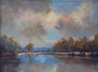 An Oil painting by Heinz Fickler in the Realist Impressionist style  depicting River with main colour being Blue Green and Grey and titled On the Hawkesbury River ( NSW )