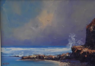 An Oil painting by Heinz Fickler in the Realist Impressionist style  depicting Seascape Sea and titled Sorrento back Beach #2