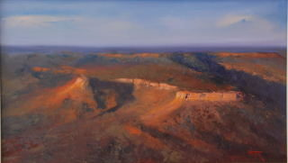 An Oil painting by Heinz Fickler in the Realist Impressionist style  depicting Landscape Mountains with main colour being Blue Gold and Green and titled West Kimberley