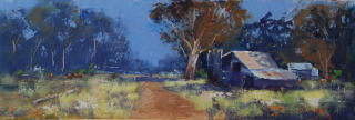 An Ink drawing by Heinz Fickler in the Realist Impressionist style  depicting Bush with main colour being Blue Gold and Green and titled High Country Hut