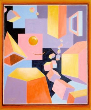 An Acrylic painting by Gregory Pastoll in the Abstract-Cubism style  with main colour being Black Brown and Purple and titled The Geometer's Dream