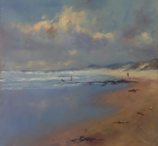 An Oil painting by Heinz Fickler in the Realist Impressionist style  depicting Seascape Beach Water and Waves with main colour being Blue Grey and White and titled Jogging at Gunnamatta ( Vic )