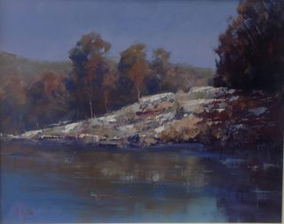 An Oil painting by Heinz Fickler in the Impressionist style  depicting Landscape Hills Trees and Water with main colour being Blue and Olive and titled Landscape 2