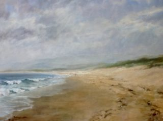 An Acrylic painting by Helen Paulucci depicting Seascape Beach and titled PK Beach NSW