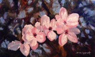 An Oil painting by Brian Rayment in the Realist Impressionist style  depicting Flowers with main colour being Blue Green and Pink and titled Flowers