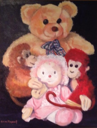 An Oil painting by Brian Rayment in the Realist style  depicting Still Life Children's Toys with main colour being Gold Pink and Red and titled Teddy