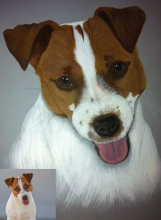 An Acrylic painting by Jan Singleton in the Realist style  depicting Animals and Dogs with main colour being Black Brown and Grey and titled Dodge