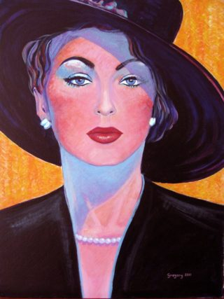 An Acrylic painting by Gregory Pastoll depicting Woman with main colour being Black Blue and Orange and titled Lady from the Fifties