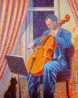 An Acrylic painting by Gregory Pastoll in the Pointillism style  depicting Man Cats Drapery and Fantasy with main colour being Blue Cream and Orange and titled Man 'Cello Cat