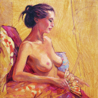 An Oil painting by Roz McQuillan in the Realist Impressionist style  depicting Nude Girl and Oriental with main colour being Ochre and Pink and titled Female Nude with Fan