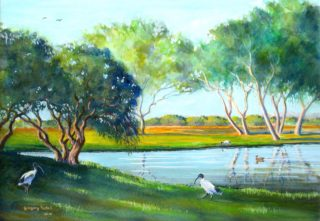 A Watercolour painting by Gregory Pastoll in the Realist style  depicting Water Birds and Trees with main colour being Blue Green and White and titled Morning Light, Waterford