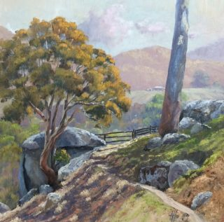 An Oil painting by Nicki Hall depicting Landscape Mountains Rocks and Rural with main colour being Blue Grey and Ochre and titled Bemboka Track