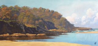 An Oil painting by Nicki Hall in the Realist Impressionist style  depicting Landscape Beach Hills and Water with main colour being Blue Ochre and Olive and titled Fishing at Moggie