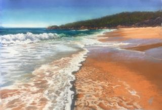 A Pastel artwork by Nicki Hall in the Realist Impressionist style  depicting Beach Water and Waves with main colour being Blue Ochre and Olive and titled Foamy Day Arugunnu