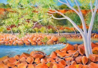 A Watercolour artwork by Gregory Pastoll in the Realist style  depicting  Creek River and Rocks with main colour being Blue Brown and Green and titled In Ross Graham Gorge, Kalbarri, WA