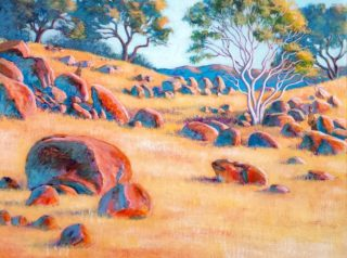 An Acrylic painting by Gregory Pastoll in the Realist Impressionist style  depicting Bush Rocks and Trees with main colour being Blue Brown and Green and titled Hillside in Rural Victoria