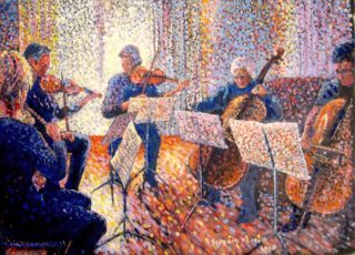 An Acrylic painting by Gregory Pastoll in the Pointillism style  depicting People Interior and Music with main colour being Blue Gold and Pink and titled String Quintet in the Afternoon