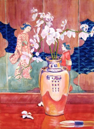 A Watercolour painting by Gregory Pastoll in the Realist style  depicting Flowers Oriental and Vases with main colour being Blue Gold and Pink and titled The Japanese Screen