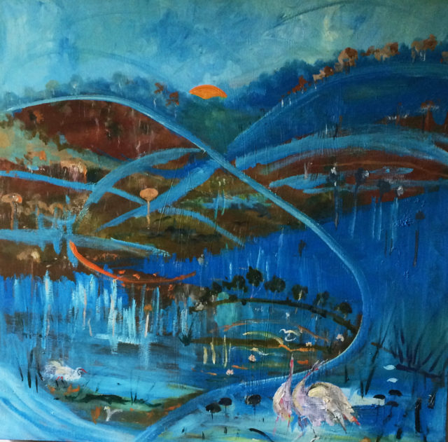 Mixed Media Painting by Margaret Morgan-Watkins titled The sun sets; the Brolgas dance