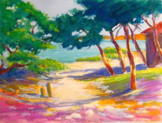 A Watercolour painting by Gregory Pastoll Beach Buildings and Trees with main colour being Cream Green and Pink and titled View on Rottnest Island