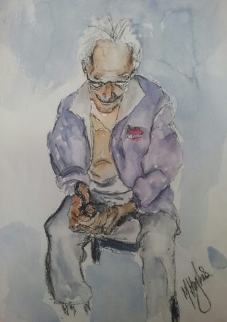 A Watercolour painting by Marion Hughes in the Impressionist style  depicting Man with main colour being Blue Brown and Grey and titled My Dad