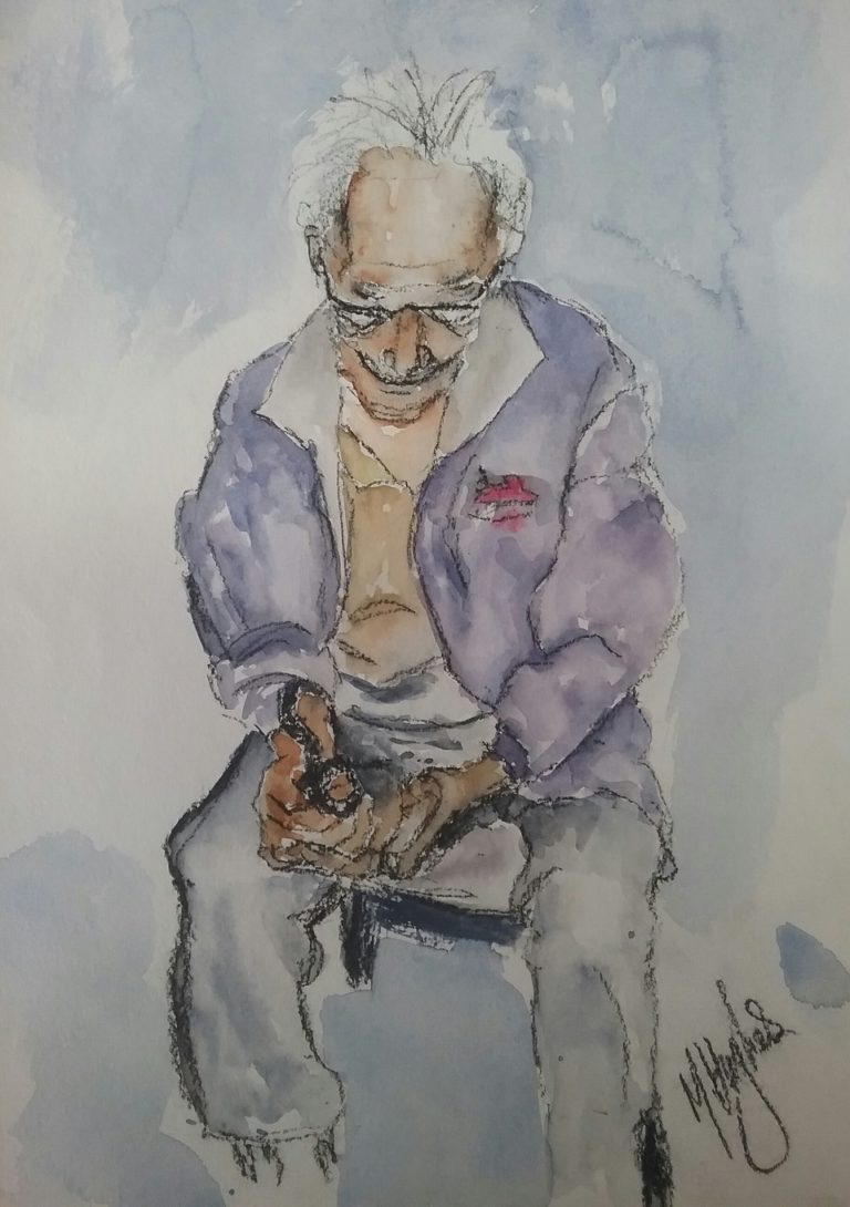 Watercolour Painting by Marion Hughes titled My Dad